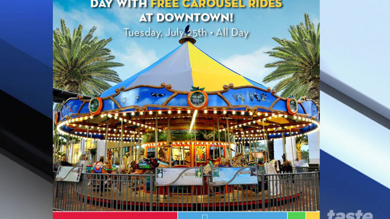 Free carousel rides at Downtown at the Gardens for National Merry-Go-Round Day