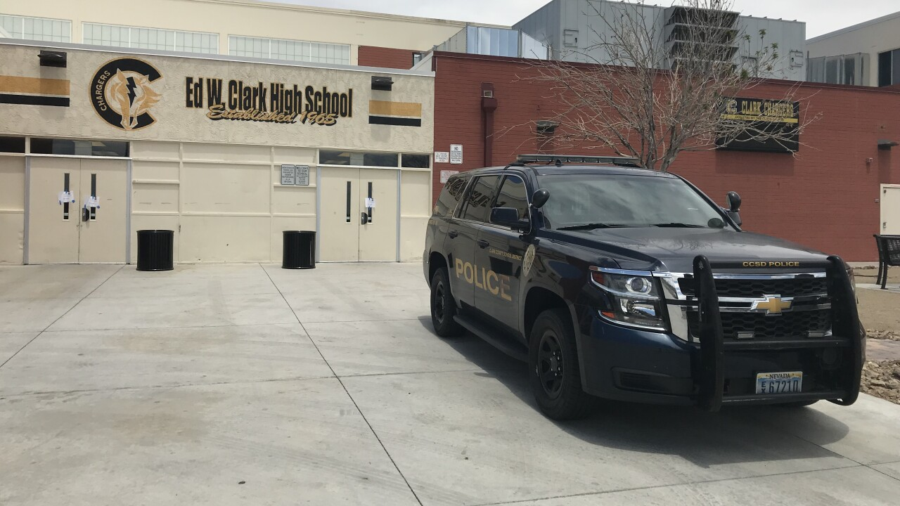CCSD Police outside Ed W. Clark High School