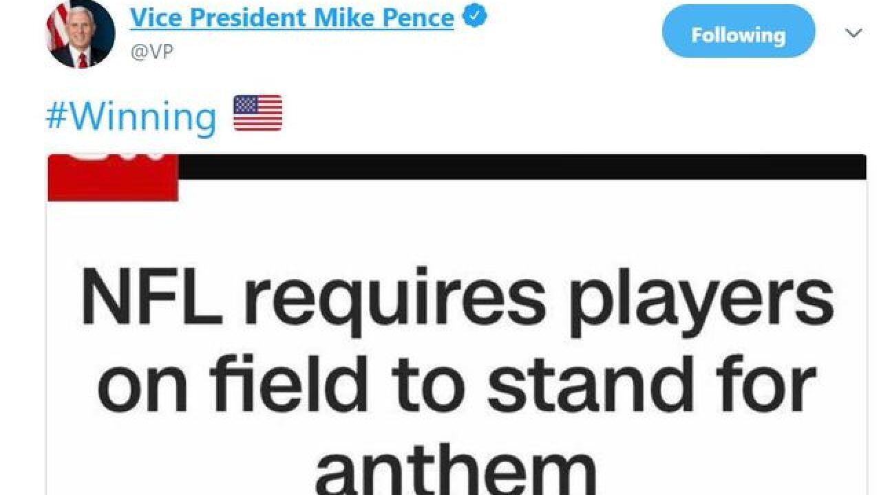 Pence celebrates NFL's new nat'l anthem policy