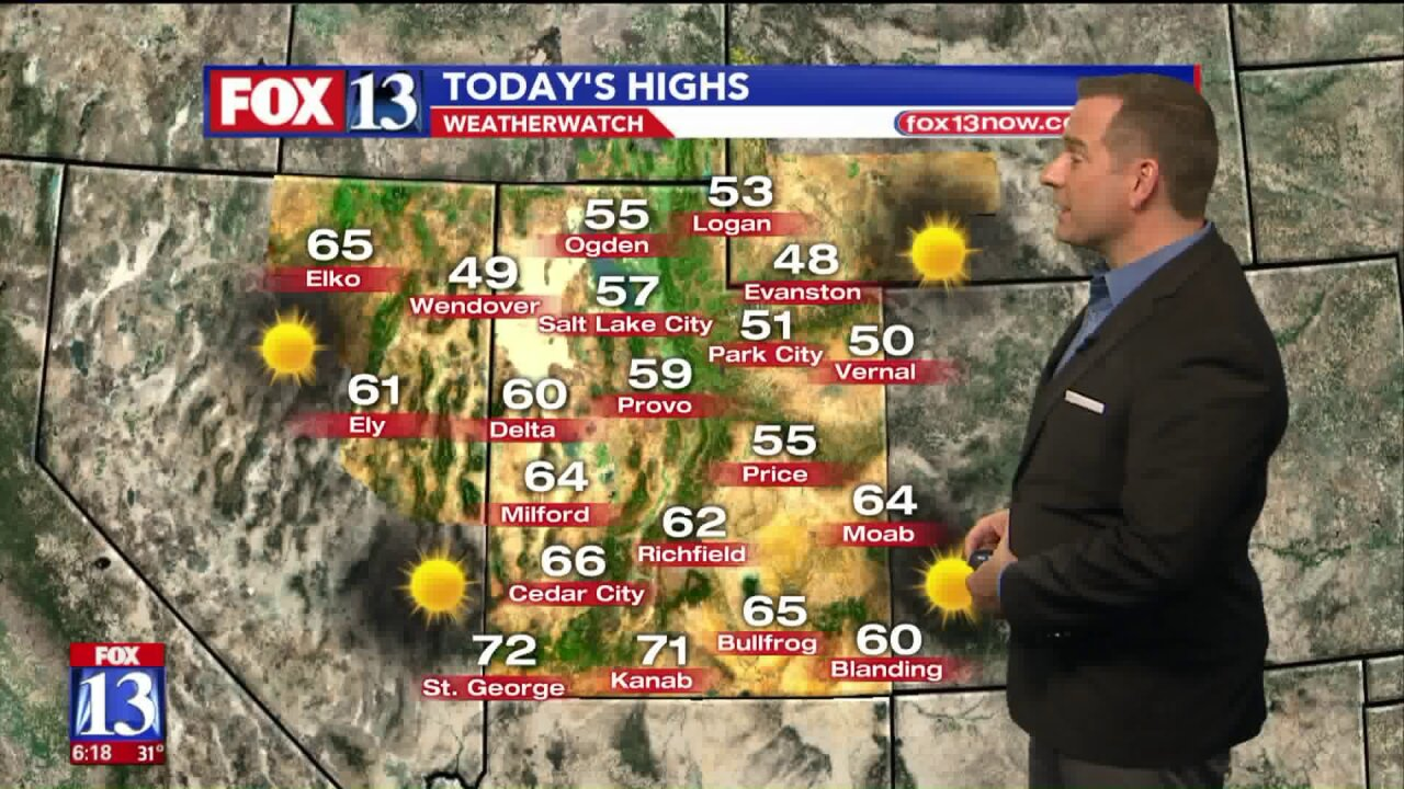 Sunny weather for Utah Monday, temperatures to climb back toward average this week