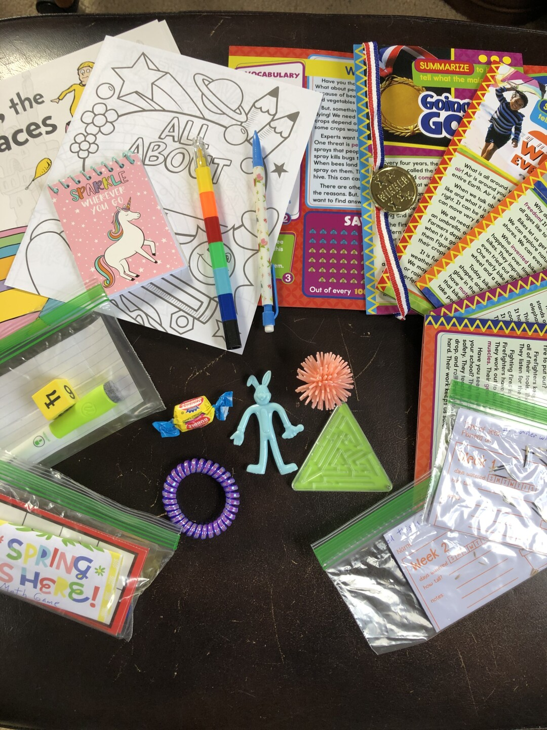 A sample of some of the items first grade MPS teacher Margaret Roushar puts into special care packages she sends to her 19 students.