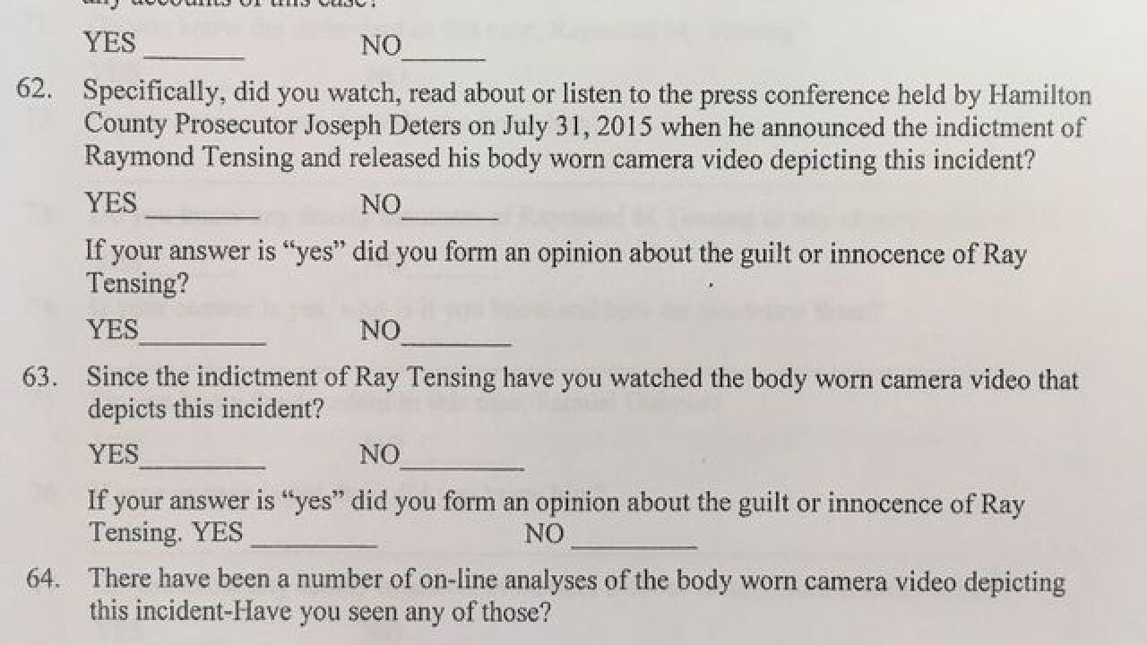 Here's what Tensing jurors were asked