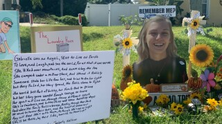 A memorial for Gabby Petito outside the Laundrie family home in North Port, Florida on Oct. 22, 2021.jpg