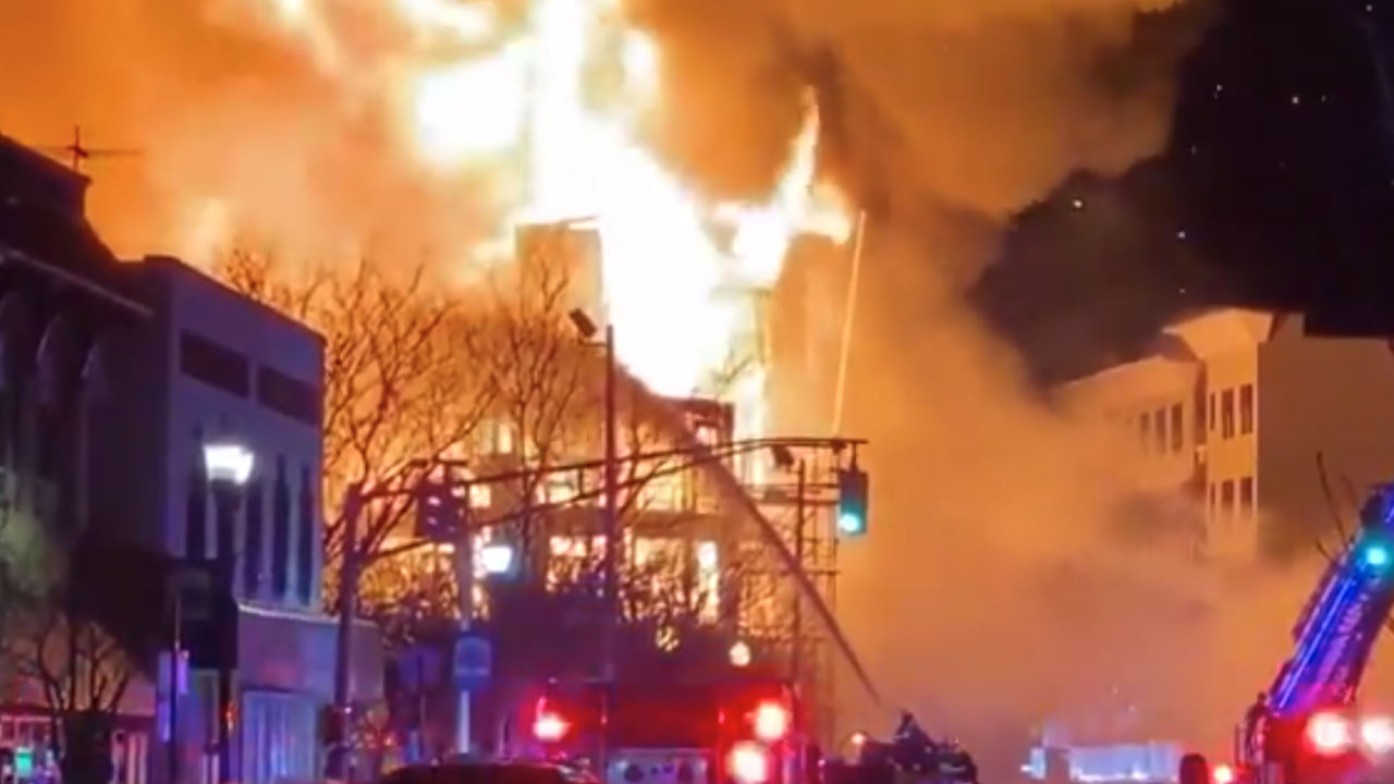 A fire tore through a construction site in Bound Brook