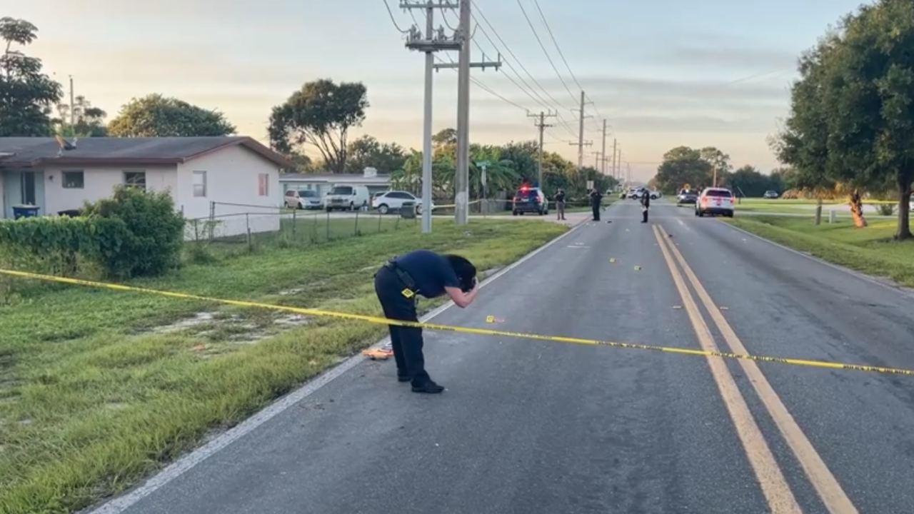 Police investigate hit-and-run crash at Skylark Drive and Oleander Avenue in Fort Pierce, Sept. 23, 2021