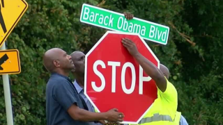 Barack Obama Blvd sign