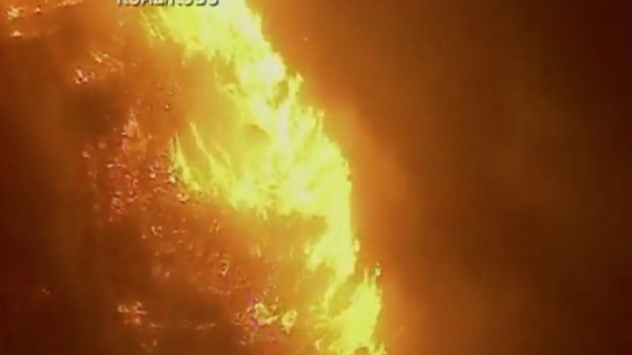 Brush fire burning through Ventura County