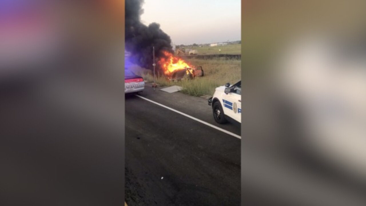 Suspect on the run after fiery Thornton crash