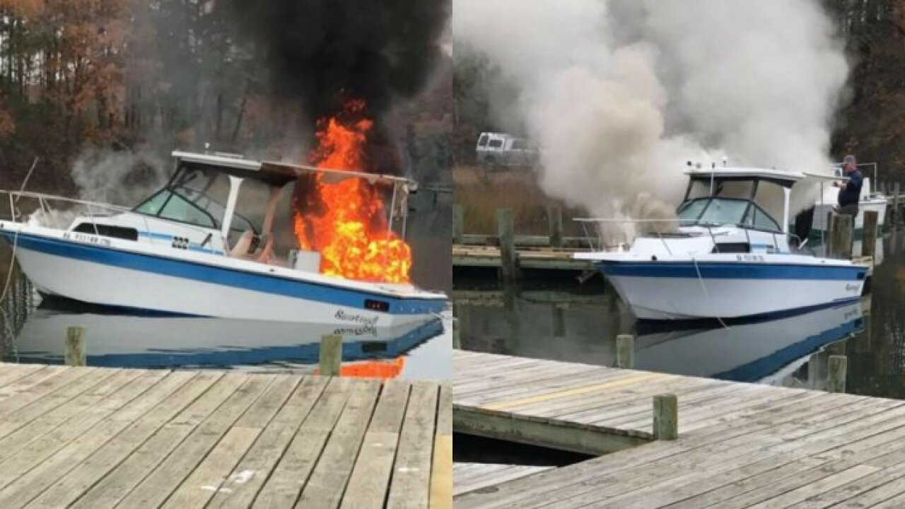 Juvenile hospitalized after boat catches fire on RappahannockRiver