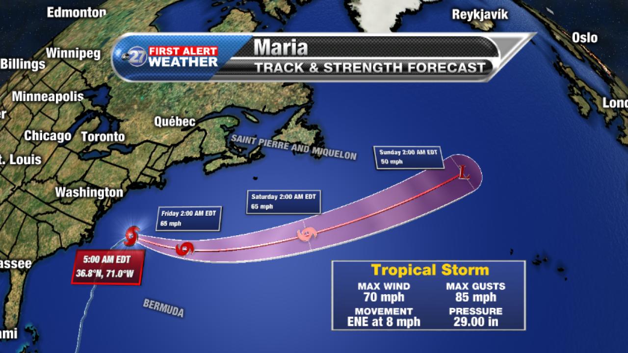 Tropical Storm Maria Forecast track (5am 09/28/2017)