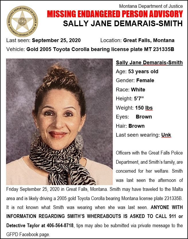 The Montana Department of Justice has issued a Missing/Endangered Person Alert for Sally Demarais-Smith.