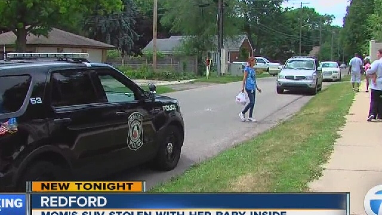 Suspect wanted for stealing car with kid inside