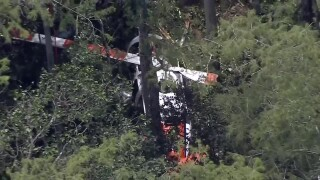 Aerial view of helicopter crash at Tradewinds Park
