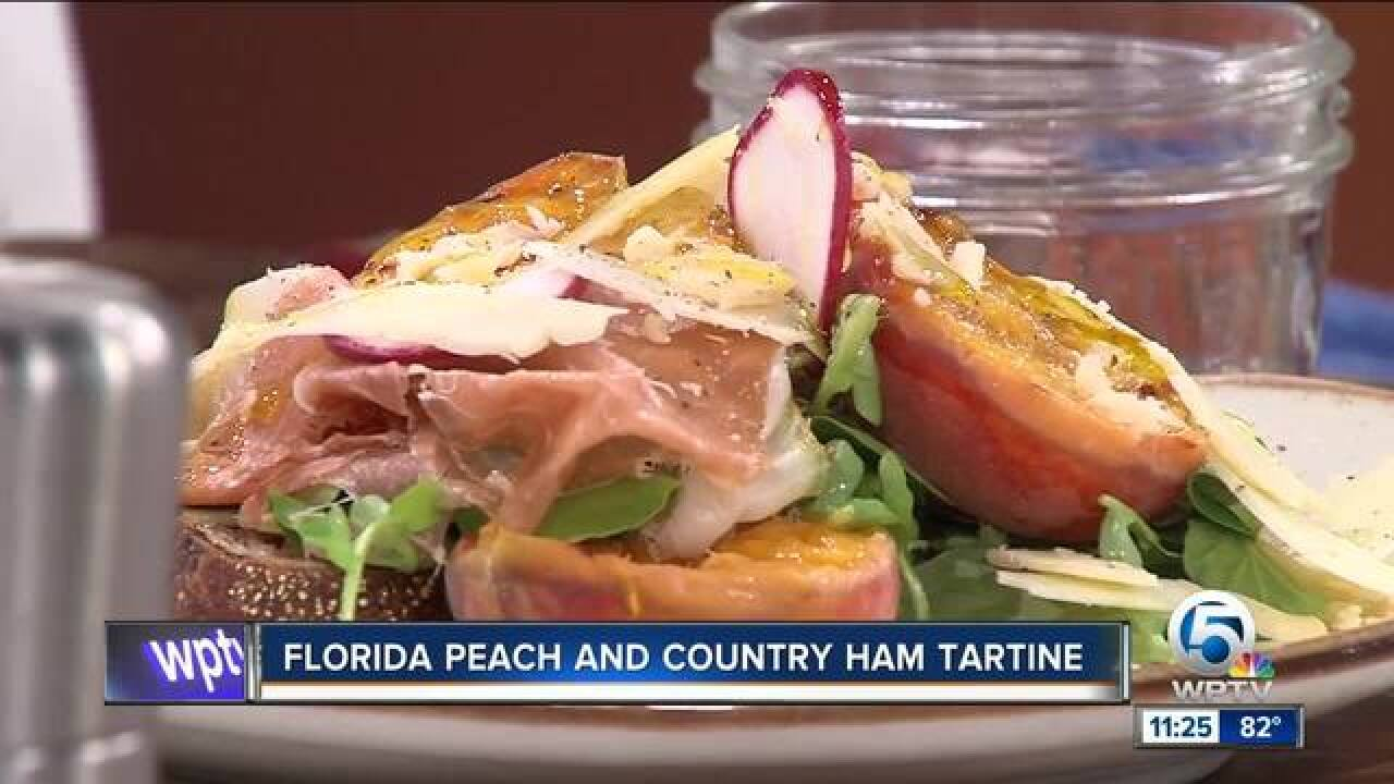 Florida peach and country ham tartine