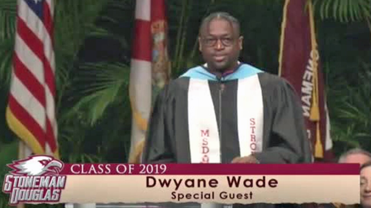 Retired NBA star Dwyane Wade was a surprise guest speaker June 2, 2019, at Marjory Stoneman Douglas High School's graduation ceremony.