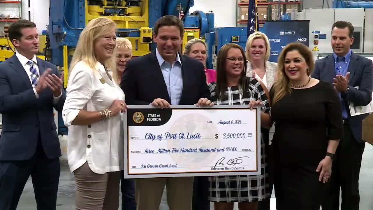 Gov. Ron DeSantis holds giant $3.5 million check awarded to city of Port St. Lucie, Aug. 6, 2021