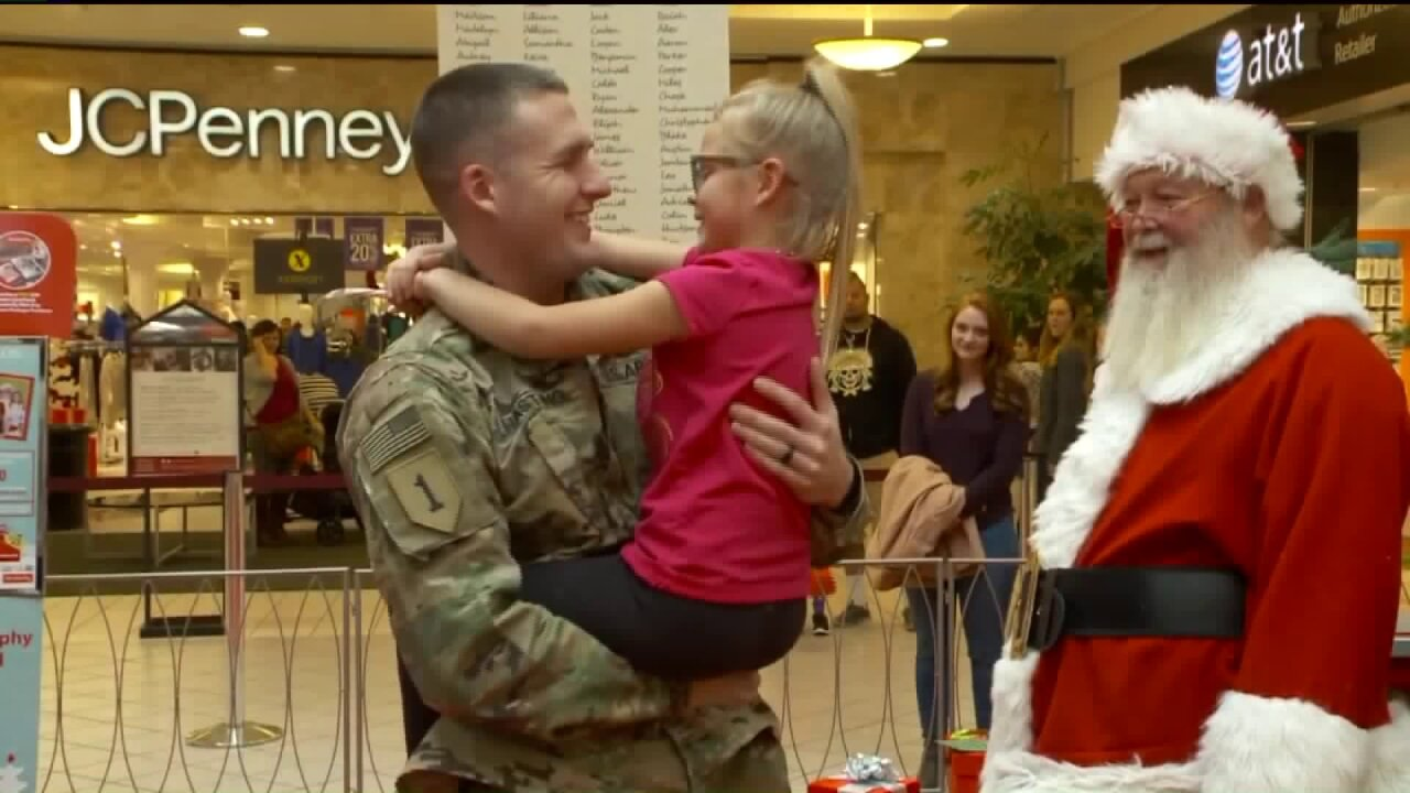 Soldier surprises daughter with her only Christmas wish