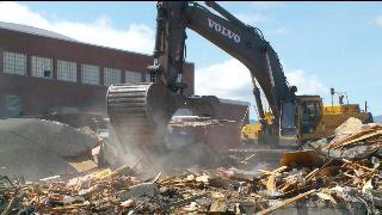 Old Granger High building demolished to make way for parking lot