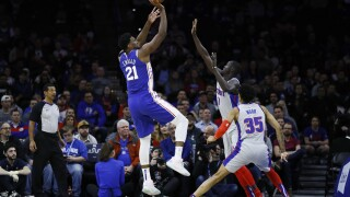 76ers rout Pistons with Embiid back from shoulder injury