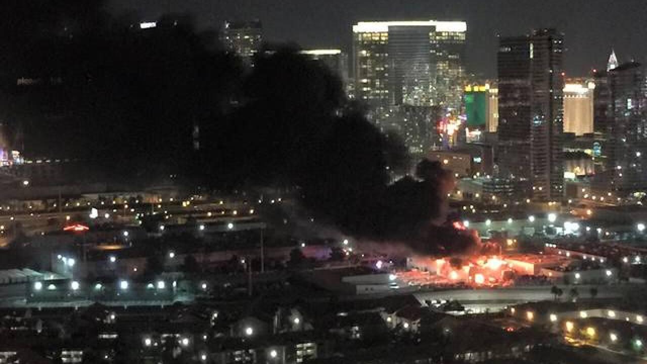 Fire at warehouse near Las Vegas Strip