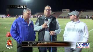 KRIS reporter Roland Rodriguez meets with Gregory-Portland coach Rick Rhoades and Alice coach Kyle Atwood before tonight's big game.