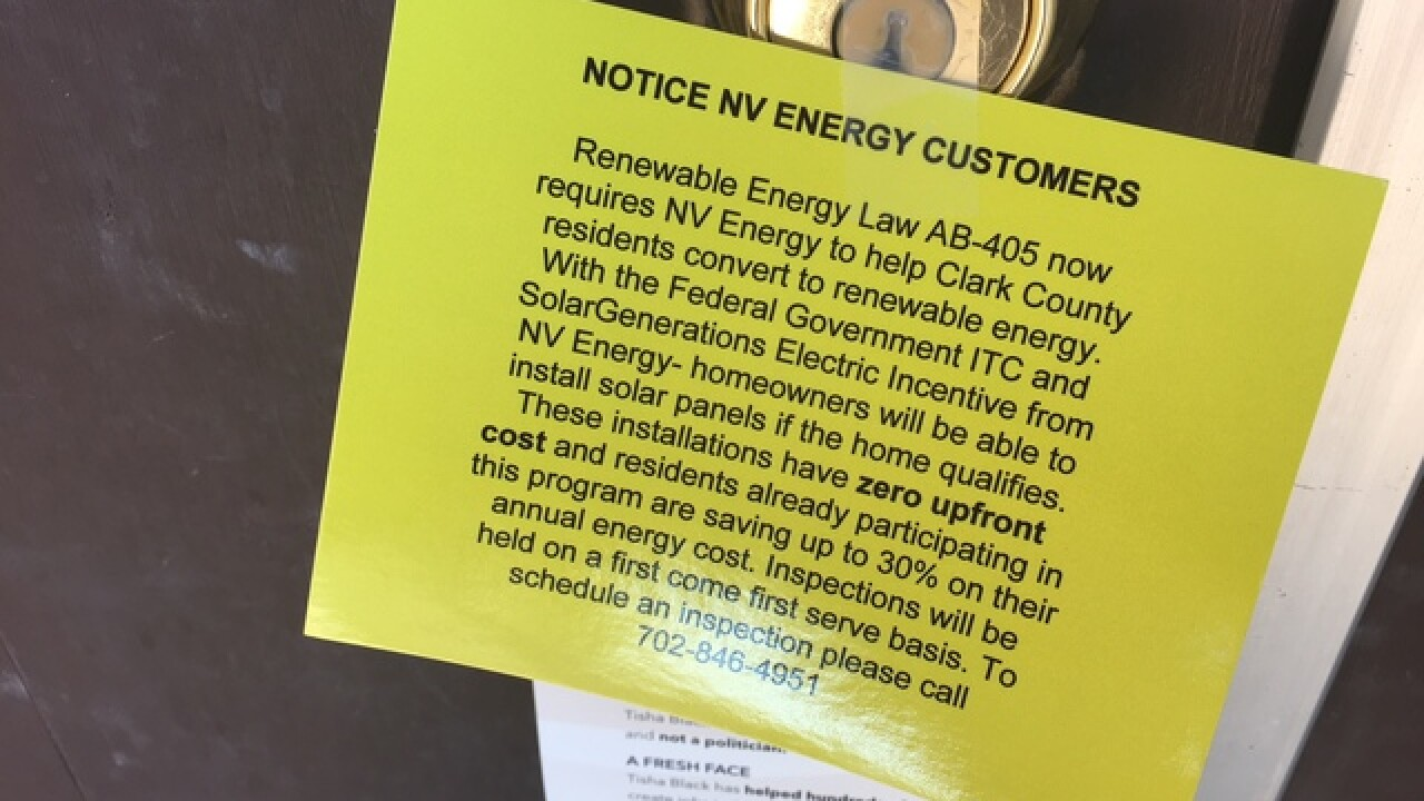 'Renewable energy' notices posted on Vegas homes