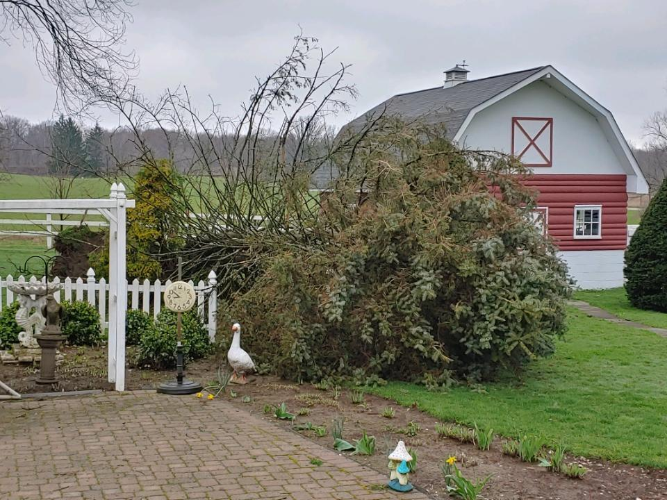 Heavy storm damage at a family farm on Tyro Street in Canton, Ohio