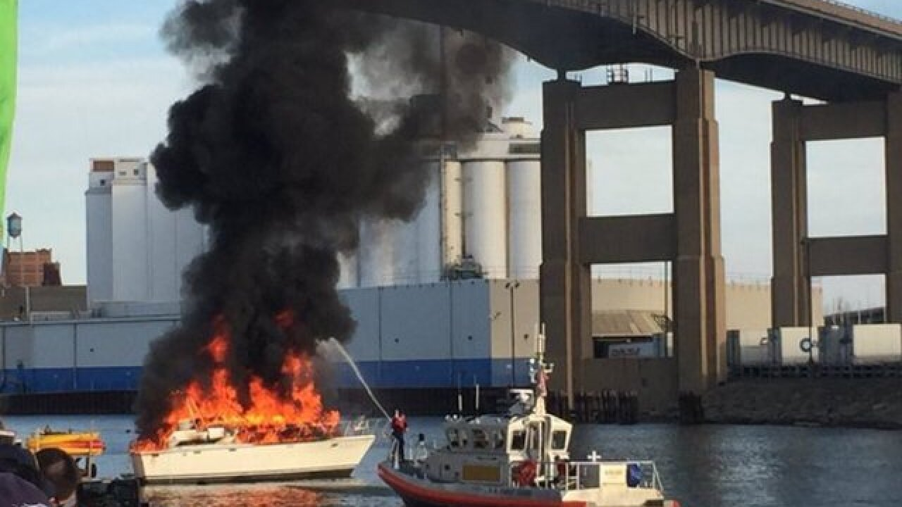 Boat bursts into flames near Canalside