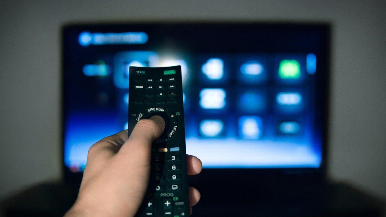 Watching TV Stock